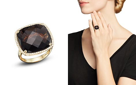 Bloomingdale's Smoky Quartz & Diamond Statement Ring in 14K Yellow Gold - 100% Exclusive_2