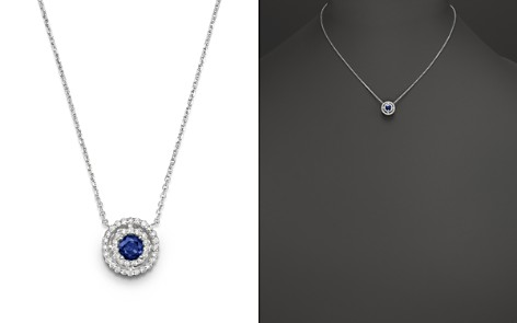 """Sapphire and Diamond Pendant Necklace in 14K White Gold, 16"""" - 100% Exclusive - Bloomingdale's_2"""