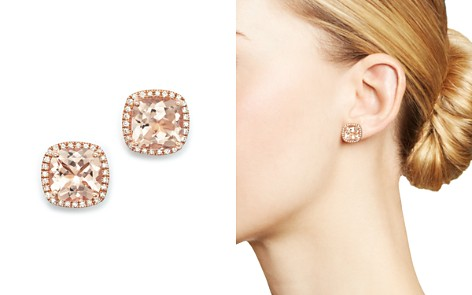 Morganite And Diamond Earrings In 14k Rose Gold 100 Exclusive Bloomingdale S 2