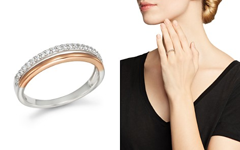 Diamond Double Row Band Ring in 14K White and Rose Gold, .12 ct .t.w. - 100% Exclusive - Bloomingdale's_2