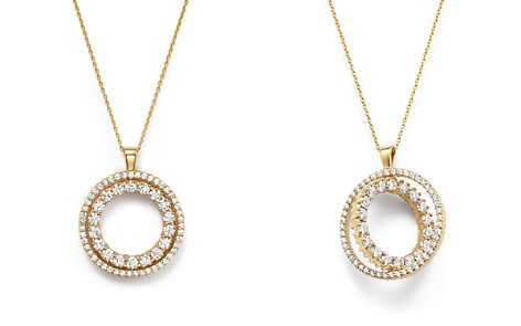 "Roberto Coin 18K Yellow Gold Double Sided Circle Pendant Necklace with White and Cognac Diamonds, 16"" - Bloomingdale's_2"