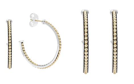LAGOS 18K Gold and Sterling Silver Enso Medium Caviar Lined Hoop Earrings - Bloomingdale's_2