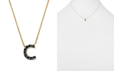 """KC Designs Initial Pendant Necklace with Black Diamond Accent in 14K Yellow Gold, 16"""" - Bloomingdale's_2"""