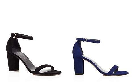 Stuart Weitzman Nearlynude Ankle Strap Block Heel Sandals - Bloomingdale's_2