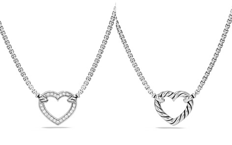David Yurman Cable Collectibles Heart Station Necklace with Diamonds - Bloomingdale's_2