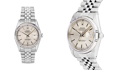 Pre-Owned Rolex Stainless Steel and 18K White Gold Datejust Watch with Fluted Bezel and Silver Dial, 36mm - Bloomingdale's_2