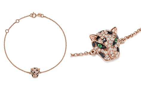 Diamond and Tsavorite Panther Bracelet in 14K Rose Gold - Bloomingdale's_2