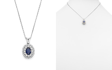 """Diamond Halo and Blue Sapphire Pendant Necklace in 14K White Gold, 16"""" - 100% Exclusive - Bloomingdale's_2"""