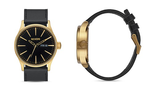 Nixon Sentry Leather Strap Watch, 42mm - Bloomingdale's_2