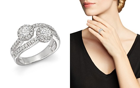 Diamond Halo Two Stone Ring in 14K White Gold, 1.15 ct. t.w. - 100% Exclusive - Bloomingdale's_2