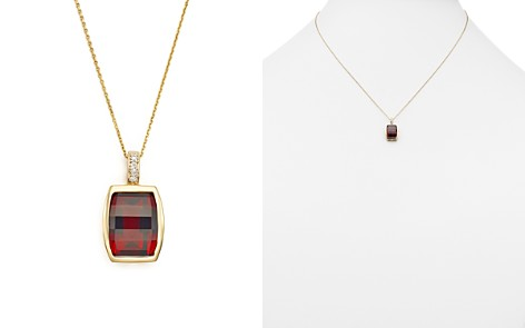 """Garnet Pendant Necklace with Diamond Accent in 14K Yellow Gold, 18"""" - 100% Exclusive - Bloomingdale's_2"""