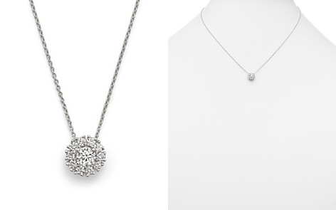 "Roberto Coin 18K White Gold Cluster Pendant Necklace with Diamonds, 16"" - Bloomingdale's_2"