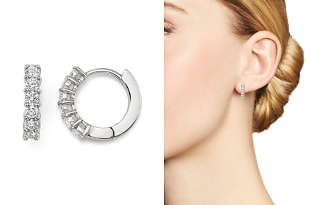 Roberto Coin 18K White Gold Small Hoop Earrings with Diamonds - Bloomingdale's_2
