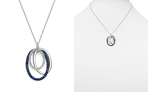 "Sapphire and Diamond Oval Pendant Necklace in 14K White Gold, 18"" - Bloomingdale's_2"
