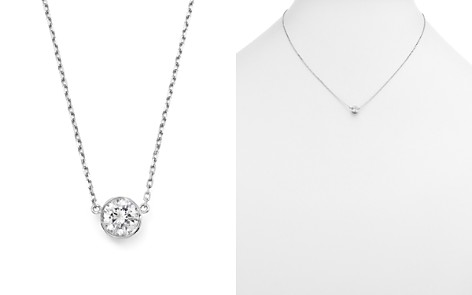 Diamond Bezel Set Pendant Necklace in 14K White Gold, .25-.50 ct. t.w. - 100% Exclusive - Bloomingdale's_2