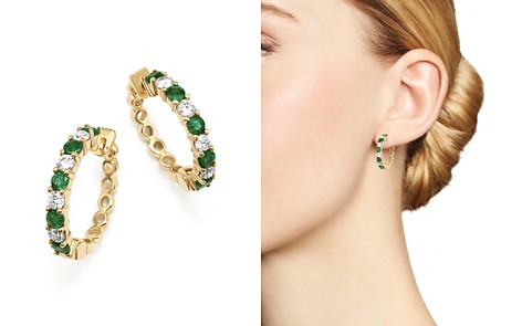 Emerald and Diamond Hoop Earrings in 14K Yellow Gold - 100% Exclusive - Bloomingdale's_2