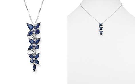 "Sapphire and Diamond Flower Drop Pendant Necklace in 14K White Gold, 18"" - 100% Exclusive - Bloomingdale's_2"