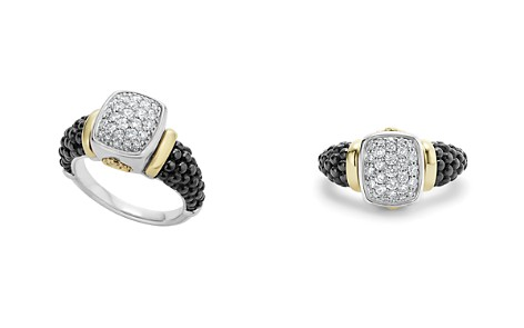 LAGOS Black Caviar Ceramic 18K Gold and Sterling Silver Ring with Diamonds - Bloomingdale's_2