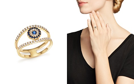 Diamond and Sapphire Evil Eye Ring in 14K Yellow Gold - Bloomingdale's_2