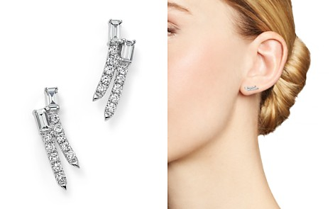 Diamond Round and Baguette Ear Climbers in 14K White Gold, .30 ct. t.w. - 100% Exclusive - Bloomingdale's_2