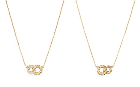 David Yurman Belmont Extra Small Double Curb Link Necklace with Diamonds in 18K Gold - Bloomingdale's_2