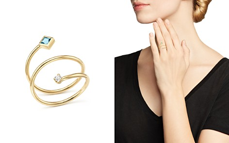 Zoë Chicco 14K Yellow Gold Diamond and Aquamarine Wrap Ring - 100% Exclusive - Bloomingdale's_2