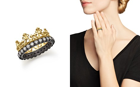 Armenta 18K Yellow Gold and Blackened Sterling Silver Old World Half Crown Diamond Ring - Bloomingdale's_2
