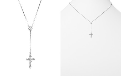 Diamond Cross Y Necklace in 14K White Gold, .35 ct. t.w. - 100% Exclusive - Bloomingdale's_2