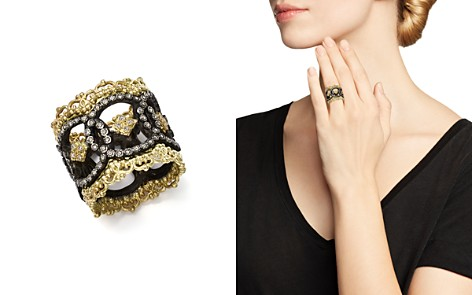 Armenta 18K Yellow Gold and Blackened Sterling Silver Old World Champagne Diamond Scalloped Ring - Bloomingdale's_2