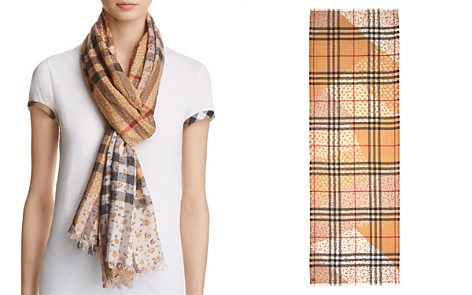 Burberry Patchwork Floral Giant Check Gauze Scarf - Bloomingdale's_2