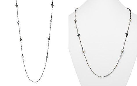"""Armenta Blackened Sterling Silver Old World Midnight Tahitian Pearl, Champagne Diamond and Tourmaline Beaded Cravelli Station Necklace, 39"""" - Bloomingdale's_2"""