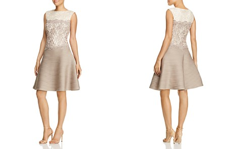 Tadashi Shoji Dress - Sleeveless Color Block Lace & Pintuck Fit and Flare - Bloomingdale's_2