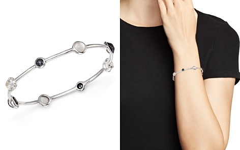 IPPOLITA Sterling Silver Rock Candy® Mother-of-Pearl Doublet, Hematite Doublet and Clear Quartz Mixed Station Bangle in Piazza - Bloomingdale's_2