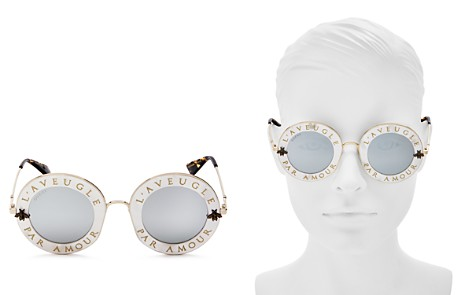 Gucci Women's Mirrored Engraved Round Sunglasses, 43mm - Bloomingdale's_2