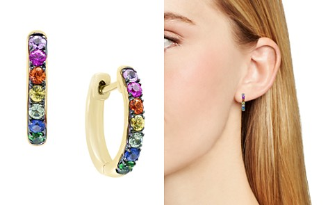 Multicolor Sapphire and Tsavorite Hoop Earrings in 14K Yellow Gold - 100% Exclusive - Bloomingdale's_2