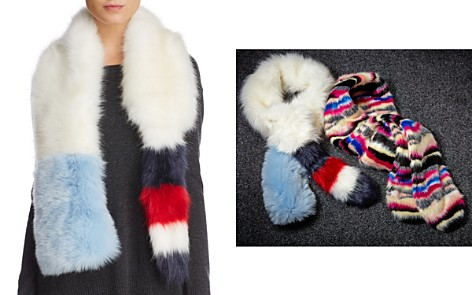 Cara New York Striped Faux Fur Stole with Tail - 100% Exclusive - Bloomingdale's_2