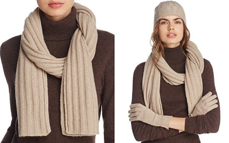 C by Bloomingdale's Ribbed Cashmere Scarf - 100% Exclusive_2