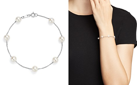 Bloomingdale's Cultured Freshwater Pearl Station Bracelet in 14K White Gold - 100% Exclusive_2