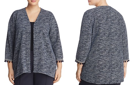 B Collection by Bobeau Curvy Maren Marled Pompom-Cuff Jacket - Bloomingdale's_2