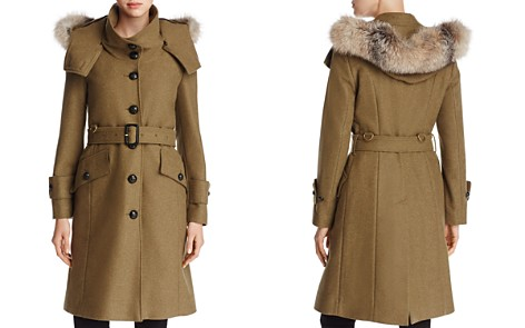 Burberry Claybrooke Fur Trimmed Trench Coat - Bloomingdale's_2