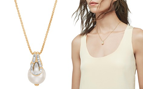 """John Hardy 18K Yellow Gold Bamboo Cultured Freshwater Pearl & Pavé Diamond Pendant Necklace, 16"""" - Bloomingdale's_2"""