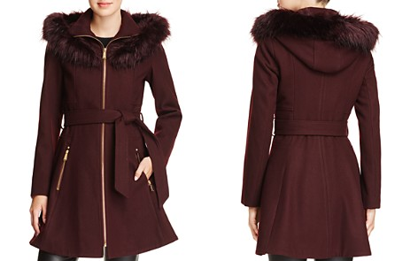 Laundry by Shelli Segal Faux Fur Trim Belted Fit & Flare Coat - Bloomingdale's_2