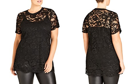 City Chic Scalloped Lace Top - Bloomingdale's_2