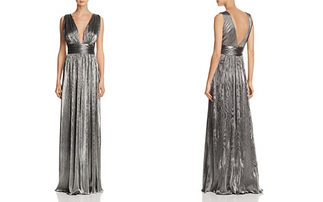 Laundry by Shelli Segal Deep V-Neck Metallic Gown - Bloomingdale's_2