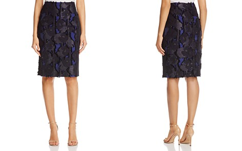 Badgley Mischka Frayed Floral Pencil Skirt - Bloomingdale's_2