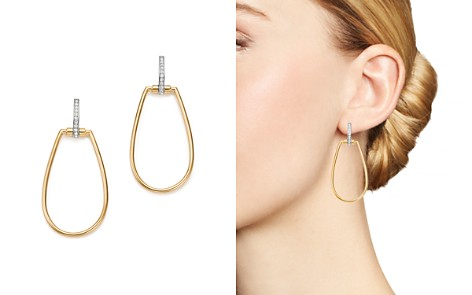 Roberto Coin 18K White & Yellow Gold Classic Parisienne Diamond Oval Earrings - Bloomingdale's_2