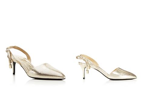 Oscar de la Renta Women's Cora Knot Metallic Leather Slingback Pumps - Bloomingdale's_2