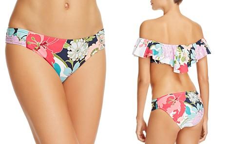 Trina Turk Royal Botanical Shirred Side Bikini Bottom - Bloomingdale's_2