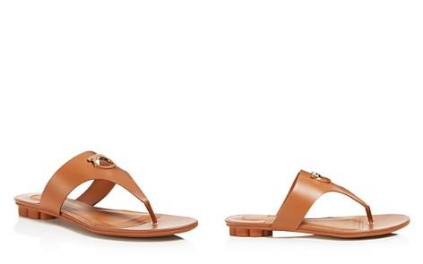Salvatore Ferragamo Women's Leather Thong Floral Heel Sandals - Bloomingdale's_2