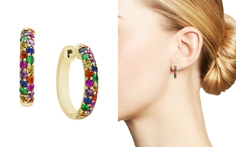Bloomingdale's Multi Sapphire Hoop Earrings in 14K Yellow Gold - 100% Exclusive_2